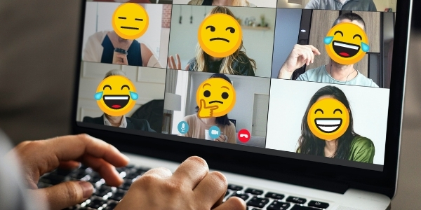 people in virtual meeting with various smiley faces as expressions